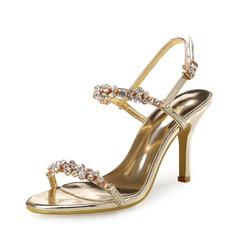 Mulheres Couro Salto agulha Sandálias Peep toe Sapatos abertos com Cristal Aplicação de renda Oca-out sapatos