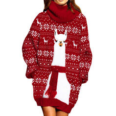 Nadruk zwierzęcy Długie rękawy Bodycon Nad kolana Boże Narodzenie/Casual Sweter Sukienki