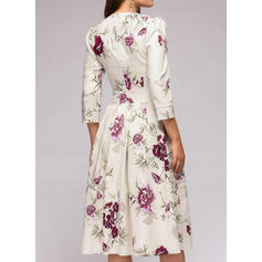 Print/Floral 3/4 Sleeves A-line Knee Length Casual Dresses