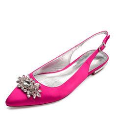 Femmes Satiné Talon plat Bout fermé Chaussures plates Sandales Escarpins avec Cristal
