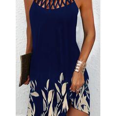 Impresión/Floral Sin mangas Vestidos sueltos Sobre la Rodilla Elegante Vestidos
