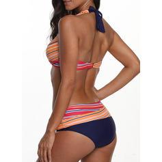 Stripe Halter Sexy Bikinis Swimsuits