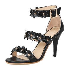 Femmes Suède Talon stiletto Sandales Escarpins avec Strass Une fleur chaussures