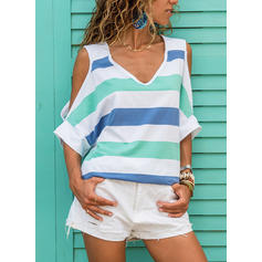 Striped Cold Shoulder 1/2 Sleeves Casual Blouses