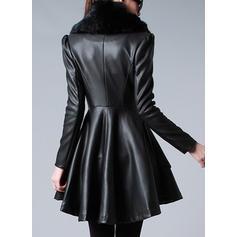 Skórzany Długie rękawy Jednolity kolor Slim Fit Płaszcze