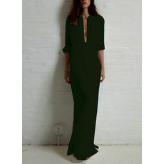 Solid 3/4 Sleeves Shift Maxi Casual/Vacation Dresses
