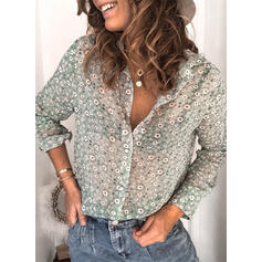 Print Floral V-Neck Long Sleeves Button Up Casual Shirt Blouses Sheer Blouses