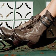 Femmes Cuir en microfibre Talon bas Bottes Bottes mi-mollets avec Boucle Zip chaussures