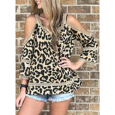 Leopard Cold Shoulder 3/4 Sleeves Casual Blouses
