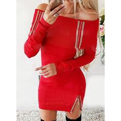 スパンコール/固体 長袖 ボディコンドレス 膝上 カジュアル ドレス