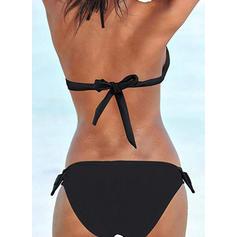 Сплошной цвет Низкая талия узловатый недоуздок сексуальный Bikinis купальников