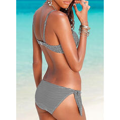 Stripe Knotted Strap Sexy Eye-catching Bikinis Swimsuits