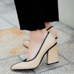 Women's Real Leather Chunky Heel Pumps Closed Toe With Split Joint shoes