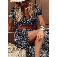 Nadrukowana Krótkie rękawy W kształcie litery A Łyżwiaż Casual/Wakacyjna Maxi Sukienki