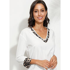 Leopard V-Neck 3/4 Sleeves Casual Blouses
