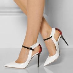 Femmes Cuir verni Talon stiletto Sandales Escarpins Bout fermé avec Boucle Ouvertes chaussures