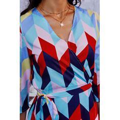 Impresión Mangas 3/4 Vestido línea A Sobre la Rodilla Casual Patinador Vestidos