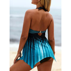Cross Gradient Halter Eye-catching Casual Swimdresses Swimsuits