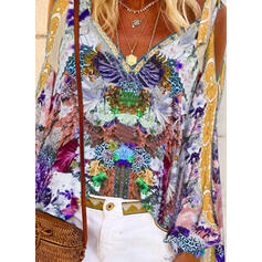 Print Cold Shoulder Flare Sleeve Long Sleeves Casual Blouses