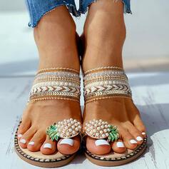 Жіночі Полотно Низька підошва Сандалі взуття на короткій шпильці Тапочки взуття