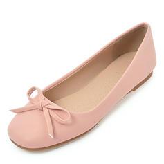 Dla kobiet Skóra ekologiczna Płaski Obcas Plaskie Zakryte Palce Z Kokarda obuwie