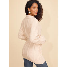 Polyester Long Sleeves Plain Cardigans