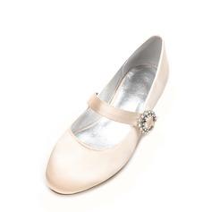 Femmes Soie comme du satin Talon bas Bout fermé Chaussures plates Mary Jane avec Boucle