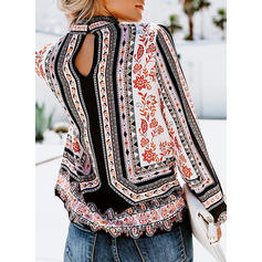 Print Stand-up Collar Long Sleeves Casual Blouses