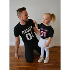 Daddy and Me Letter Print Matching T-Shirts