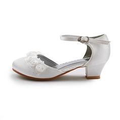 Frauen Satin Niederiger Absatz Geschlossene Zehe Flache Schuhe mit Schnalle Stich Spitzen