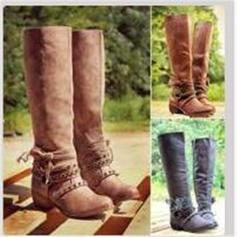 Női PU Alacsony sarok Csizma Térdig érő csizmák -Val Csat Cipzár cipő