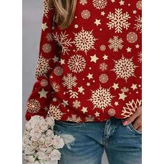 Друк Кругла шия Довгі рукави Різдвяні светри