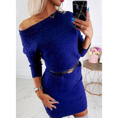 Solid Cable-knit Chunky knit One Shoulder Sweaters