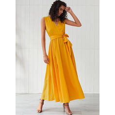 Solid Sleeveless A-line Casual Maxi Dresses
