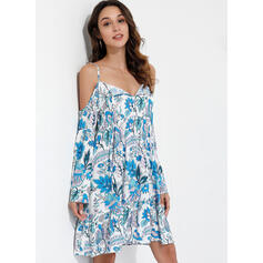 Print/Floral Long Sleeves/Flare Sleeves/Cold Shoulder Sleeve A-line Knee Length Sexy/Casual/Vacation Skater Dresses