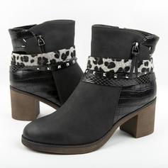 Women's PU Stiletto Heel Chunky Heel Boots With Animal Print Zipper shoes