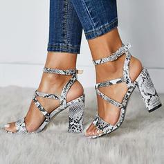 Femmes PU Talon stiletto Sandales Escarpins avec La copie Animale chaussures