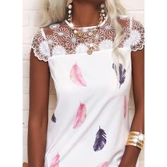印刷 キャップスリーブ シフトドレス 膝上 カジュアル ドレス