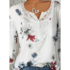 Print Floral Lace V-Neck Long Sleeves Button Up Casual Blouses