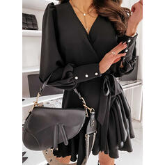 Solid Long Sleeves/Lantern Sleeve A-line Above Knee Little Black/Elegant Skater Dresses