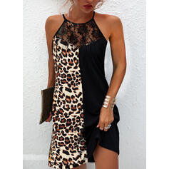Lace/Leopard Sleeveless Shift Above Knee Casual Dresses