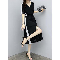 Slit V-neck Midi A-line Dress
