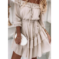 Solid 3/4 Sleeves A-line Above Knee Casual/Vacation Skater Dresses