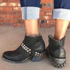 Women's PU Chunky Heel Boots With Rivet Zipper shoes