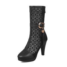 Femmes Similicuir Mesh Talon stiletto Bottes Bottes mi-mollets avec Boucle chaussures