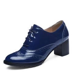 Donna Pelle verniciata Tacco spesso Stiletto con Allacciato scarpe
