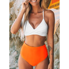 Solid Color High Waist Push Up Halter Sexy Fresh Bikinis Swimsuits
