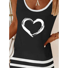 Heart Print Striped Round Neck Sleeveless Tank Tops