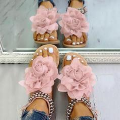 Pentru Femei PU Fară Toc Sandale cu Şirag de Mărgele Floare pantofi