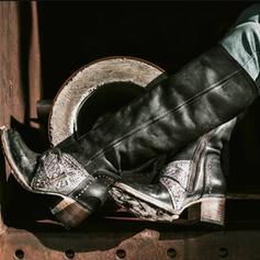 Kvinner PU Stor Hæl Knehøye Støvler med Spenne Glidelås sko